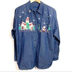 Karen Scott Christmas Button Up Long Sleeve Large